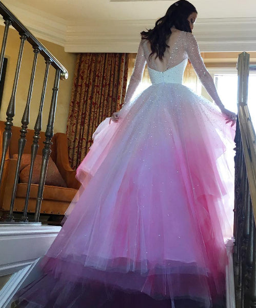 Red And White Wedding Dresses With Sleeves: A-line Colorful Long Sleeves Sheer Tulle Wedding Dresses