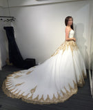 Princess Ball Gown Strapless Court Train White Tulle Wedding Dress with Gold Lace,bridal dress,N399