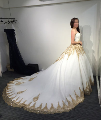 Ball Gown Strapless Court Train White Gold Lace Tulle Wedding Dress ...