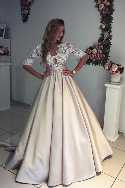 A-line Half Sleeves V-neck Ruched Long Prom Dress with Lace Top,Long Evening Dress,N385