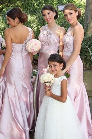Pastel Pink Trendy One-shoulder Lace Long Bridesmaid Dress,Prom Dresses,N480