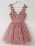 A-Line V-Neck Blush Pink Sleeveless Homecoming Dress,Appliqued Short Tulle Prom Dress,N218