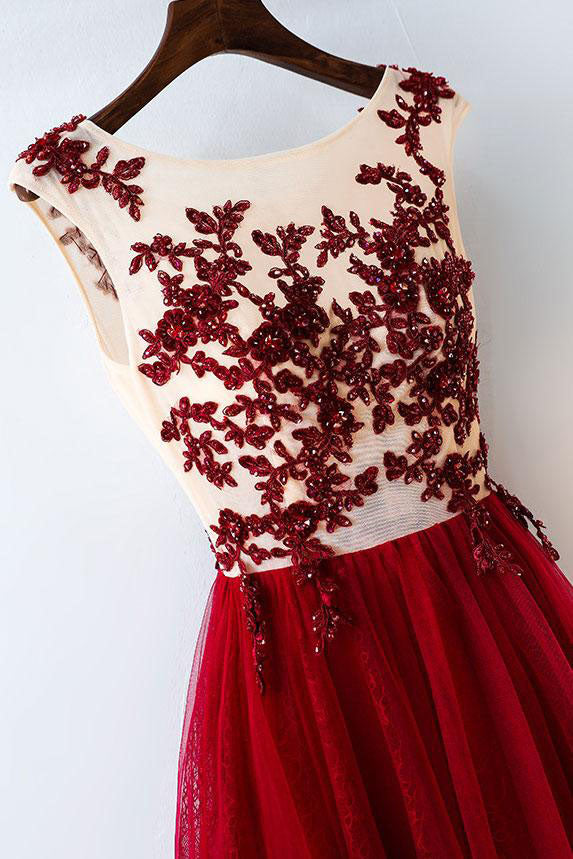 Burgundy Lace Applique Sleeveless Tulle Long Prom Dress with Beads,A-line Evening Dresses,N312