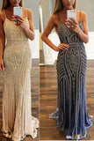 Champagne Mermaid Spaghetti Straps V-Neck Sparkly Sweep Train Prom Dress with Beading,N398