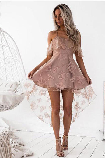 Blush Straps Fashion A-Line Lace Off-Shoulder High Low Short Homecoming Dress,Party Dress,N286