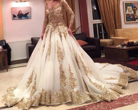 Gold Lace Appliques Long Sleeves V Neck Ball Gown Tulle Wedding ...