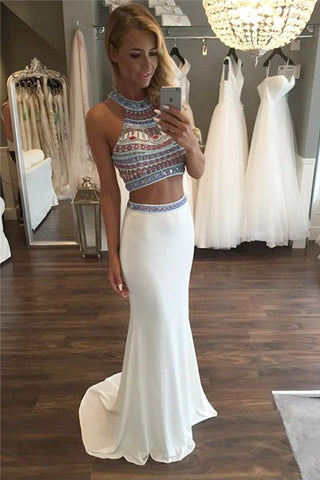 Two Piece Halter Sleeveless White Beaded Prom Dress with Sweep Train,Prom Dress Long,N358
