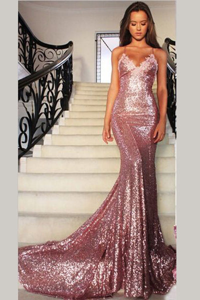 Gorgeous Rose Gold Spaghetti Straps V-neck Mermaid Sequins Sweep Train Prom Dress,N404