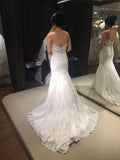 White Mermaid Sweetheart Lace Bridal Dresses with Beads,Sexy Beach Wedding Dresses,N469