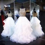 Two Piece White Shiny Ruffles Sleeveless Floor Length Prom Gown with Gold Top,N433