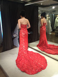 Red Lace Strapless Trumpet Court Train Evening Dress,Winter Formal Dresses,N441