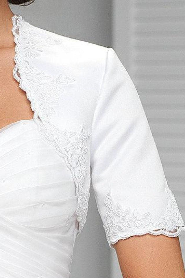 White Appliqued Short Sleeve Satin Bridal Shrug, Satin Short Sleeves Wedding Jacket JK009