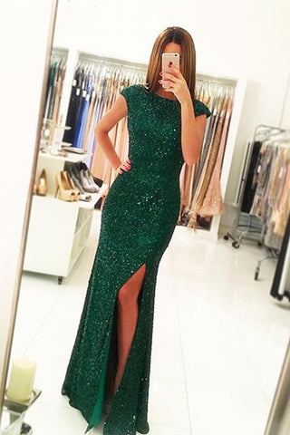 Side Slit Cap Sleeves Prom Dressmermaid Backless Sequins Prom Gown