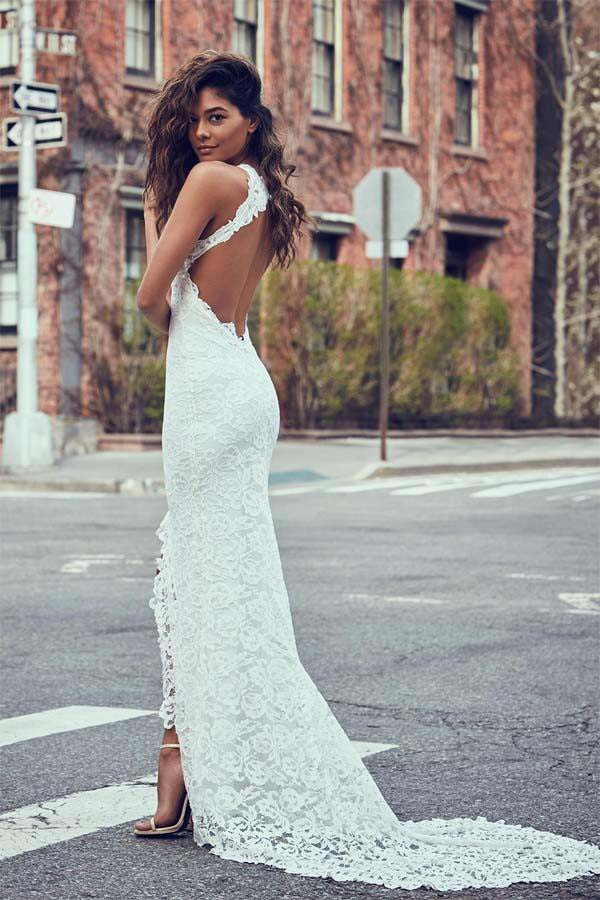 Sexy Mermaid Jewel Lace Backless Wedding Dresses With Court Train,Beach Wedding Dress,N339