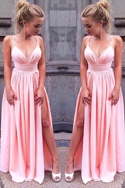 Simple A-Line Sleeveless Straps Floor-Length Ruched Slit Chiffon Prom Dresses,N749