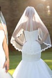 Simple Eyelash Lace Edge 90cm Bridal Ivory New Veil 1 Tier Bride Wedding Veil+Comb,V009
