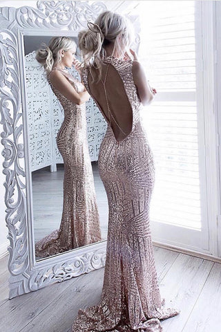 Skin Pink Mermaid Open Back Sleeveless Sequined Sweep Train Prom Dress,Sexy Evening Dress,N395
