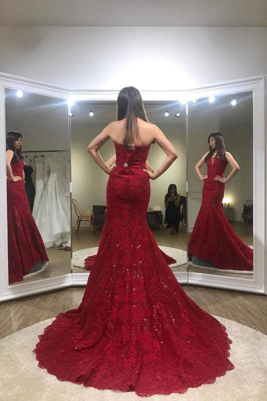 Sexy Trumpet Red Strapless Sweep Train Lace Prom Dresslong Formal Gownn434