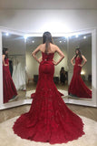 Sexy Trumpet Red Strapless Sweep Train Lace Prom Dress,Long Formal Gown,N434