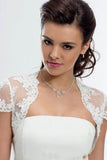 Cap Sleeve Lace Bolero Jacket Ivory Lace Bridal Top, Cheap Lace Appliques Wedding Jacket