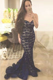 Mermaid Navy Blue Sweetheart Lace Sweetheart Prom Dress,Strapless Evening Dress,N88
