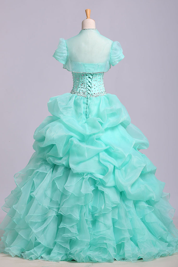 Puffy Sweetheart Organza Floor Length Prom Dress with Sequins, Quinceanera Dress N1202