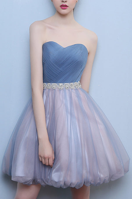 Princess Steel Blue Sweetheart Tulle Short Homecoming Dress, Cute Prom Dress with Beads N1064