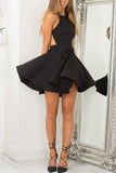 Black Straps Open Back Homecoming Dress,Sexy Satin Party Dress,Cheap Short Prom Dress,N284