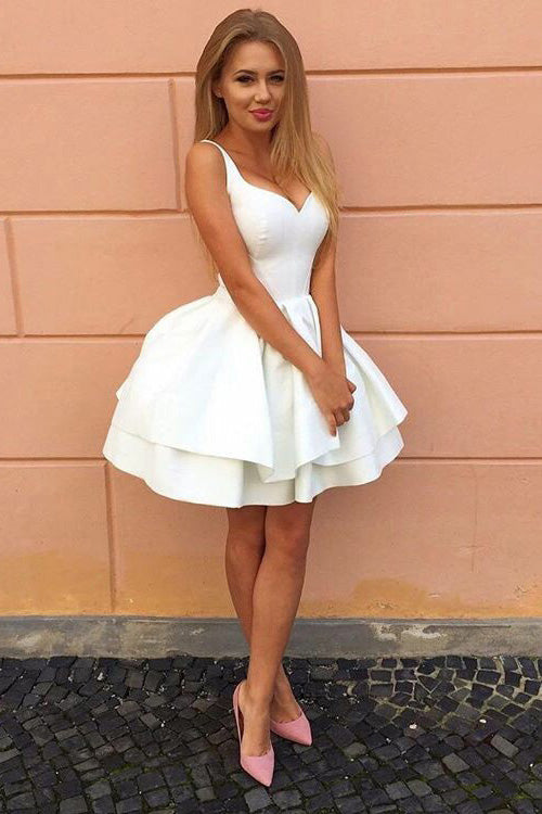Fashion Ivory V-Neck Sleeveless Straps Short Homecoming Dress,V-neck Mini Dresses,N280