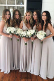Simple Silver Sleeveless V-neck Ruched Floor-length Bridesmaid Dresses,N425