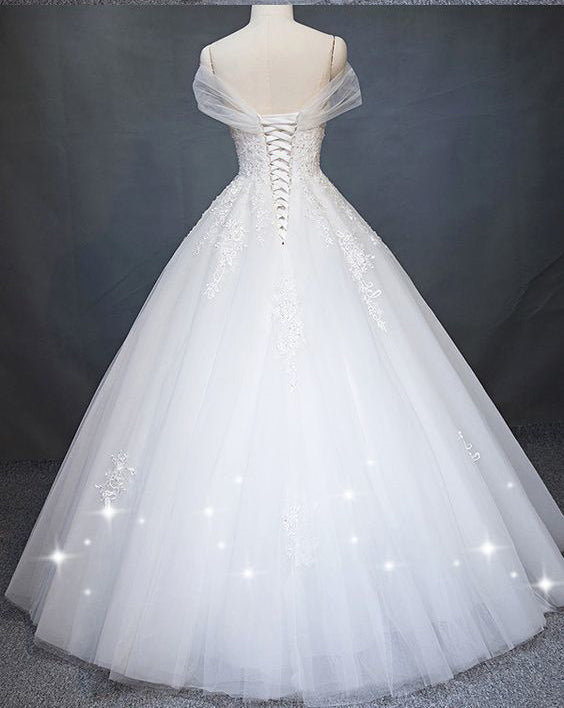 White Princess Off Shoulder Tulle Wedding Dress, Floor Length Appliqued Bridal Dress N1118