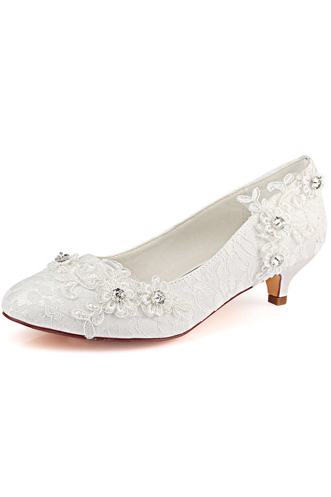 Ivory Wedding Shoes with Appliques, Fashion Woman Shoes with Rhinestone