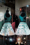 A Line Two Piece Turquoise Short Homecoming Dresses with Beading, Formal Short Prom Dresses N1070
