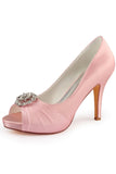 Light Pink High Heels Wedding Shoes with Rhinestone, Peep Toe Fashion Wedding Woman Shoes
