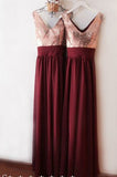 Burgundy V Neck Floor Length Bridesmaid Dress, V-Back Rose Gold Sequin Prom Dress N1128