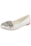 Ivory Flat Wedding Shoes with Crystal, Satin Wedding Party Shoes with Beads, Fashion Shoes