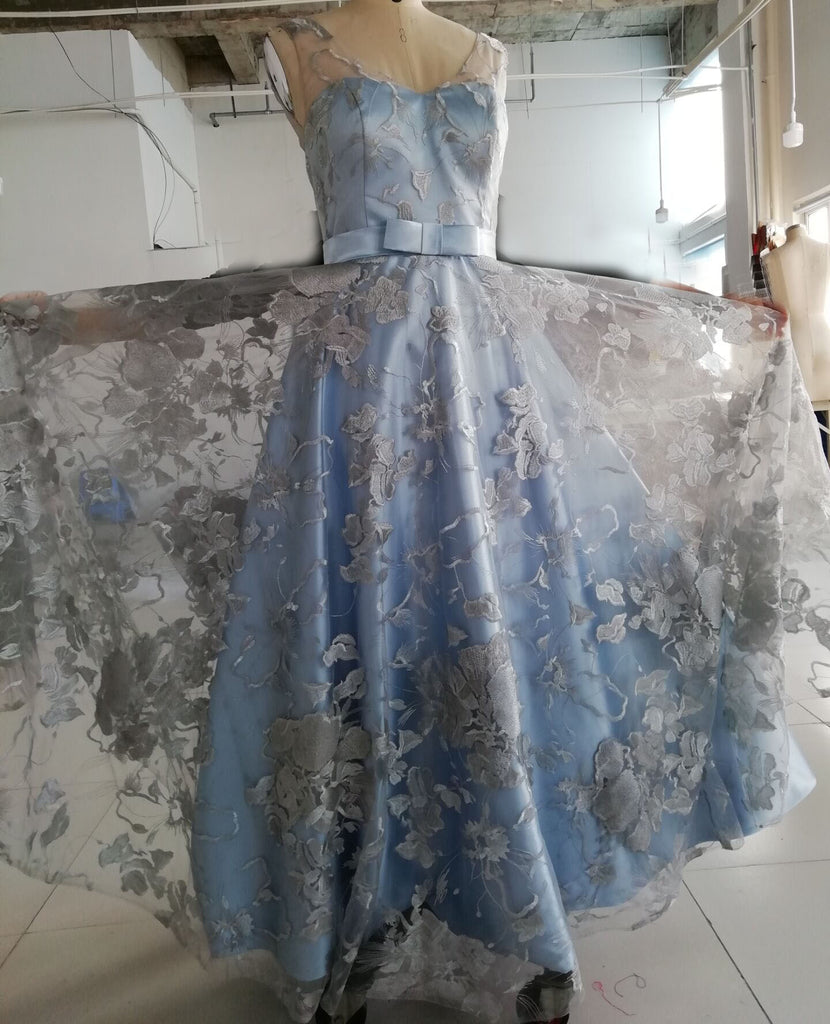 Light Blue Sleeveless Prom Dress with Lace, Lace Floor Length Evening Dresses N1148