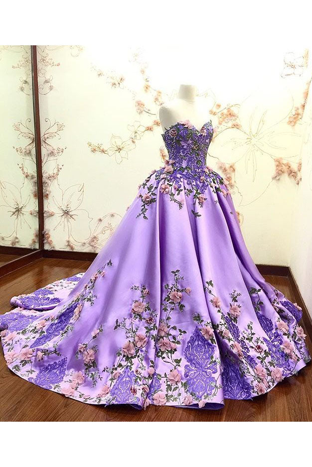 Lilac Ball Gown Sweetheart Prom Dress, Gorgeous Party Dress with Lace Appliques N1146