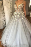 Sexy Straps Ball Gown Wedding Dress,Appliqued Deep V-neck Bridal Dress with Beads,N291