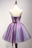 Purple Strapless Sleeveless Appliques Flower Short Formal Dresses with Beads N790