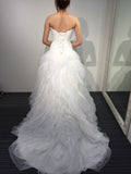 A-line White Princess Strapless Sweetheart Ruffles Tulle Long Beach Wedding Dress,N408