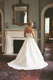 A-line V-neck Sleeveless Spaghetti Strap Lace Satin Wedding Dress,Beach Wedding Gown,N462
