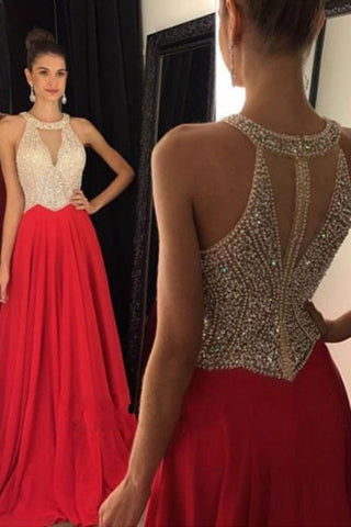 Red Beaded Chiffon Long Prom Dresssleeveless Prom Gownsevening