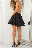 Simple Black Straps Backless Homecoming Dress,Sexy Satin Party Dress,Cheap Short Prom Dress,N284