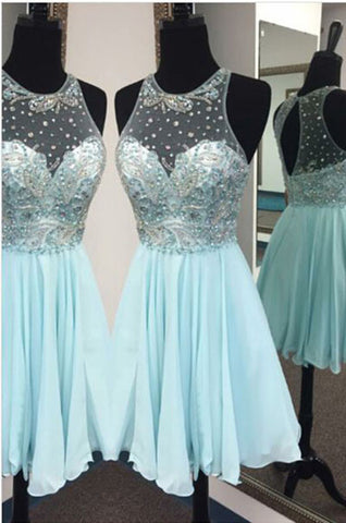 Charming Light Blue Homecoming Dresses,Beaded Chiffon Homecoming Dresses,Cute Homecoming Dresses,Cheap Homecoming Gowns,Juniors Homecoming Dresses,N135