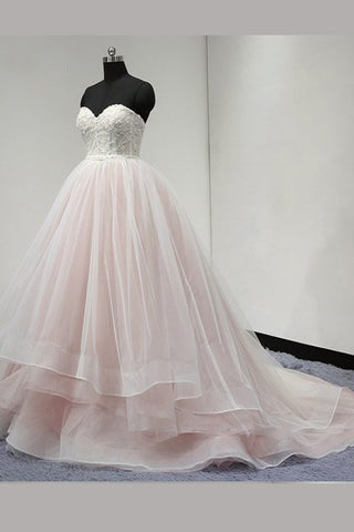 Light Pink Strapless Sweetheart Charming Affordable Layers Long Prom Dresses Ball Gown,N473