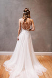 Spaghetti Straps Sleeveless Sweep Train Lace Beach Wedding Dress with Beading Waist,N464