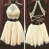 Beige Two Pieces Lace Top Halter Sleeveless Graduation Dress,Homecoming Dress for Teens,N278