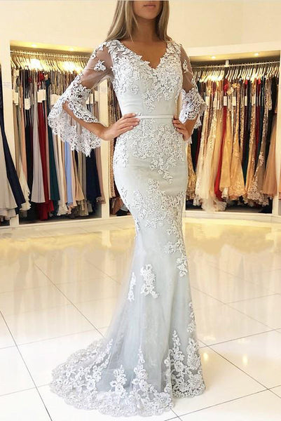 White V Neck Long Prom Dress, Mermaid Lace Appliqued Evening Dress with Sleeves N2026