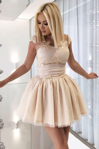 fa457bd71fc Champagne A-Line Sheer Neck Cap Sleeves Open Back Short Homecoming Dress  with Appliques – Simibridaldress